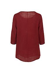 Недорогие -Жен. Рубашка Хлопок Однотонный