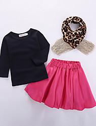 Недорогие -Дети (1-4 лет) Девочки Уличный стиль Повседневные Школа Леопард Пайетки Длинный рукав Обычный Обычная Хлопок Набор одежды Пурпурный