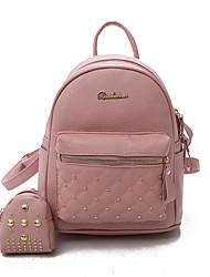 Недорогие -Жен. Мешки PU рюкзак Молнии Белый / Черный / Розовый