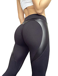baratos -Mulheres Patchwork Calças de Yoga - Preto Esportes Elastano Meia-calça / Leggings Corrida, Fitness Roupas Esportivas Respirável Com Stretch