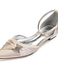 cheap -Women's Shoes Satin Spring & Summer Comfort Wedding Shoes Flat Heel Pointed Toe Rhinestone / Sparkling Glitter Blue / Champagne / Ivory / Party & Evening
