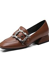 abordables -Femme Chaussures Cuir Nappa Printemps été Confort Mocassins et Chaussons+D6148 Block Heel Blanc / Noir / Marron