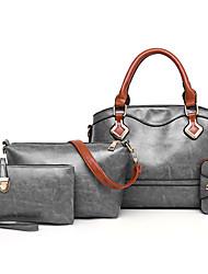 baratos -Mulheres Bolsas PU Conjuntos de saco Conjunto de bolsa de 4 pcs Cor Única Vermelho / Rosa / Cinzento