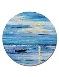 cheap -STYLEDECOR Modern Hand Painted Abstract Circular Frame Vessel on The Sea in Blue Background Oil Painting on