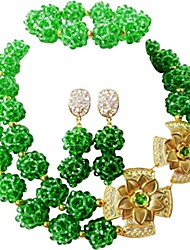 cheap -Women's Layered Jewelry Set - Moon Fashion Include Strands Necklace Green / Blue / Hot Pink For Wedding / Party
