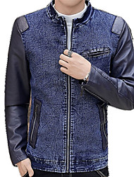 cheap -Men's Street chic Leather Jacket - Solid Colored