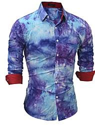 Недорогие -Муж. Рубашка Панк & Готика Контрастных цветов / В клетку