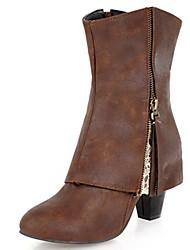 baratos -Mulheres Sapatos Camurça / Couro Ecológico Outono & inverno Botas da Moda Botas Salto Robusto Ponta Redonda Botas Cano Médio Cinzento / Amêndoa / Castanho Escuro