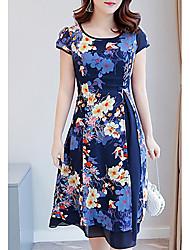 abordables -Mujer Tallas Grandes Delgado Vaina Vestido Floral Sobre la rodilla / Verano