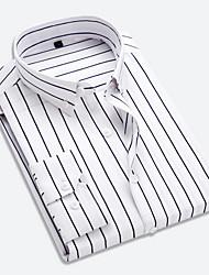 Недорогие -Муж. Офис Рубашка Классический воротник Деловые / Классический Полоски Красный / Длинный рукав