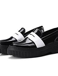 abordables -Femme Chaussures Cuir Nappa Printemps / Eté Confort Mocassins et Chaussons+D6148 Creepers Bout fermé Blanc / Marron