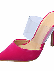 cheap -Women's Shoes Cotton / PVC(Polyvinyl chloride) Spring & Summer Slingback Clogs & Mules Stiletto Heel Pointed Toe Red / Green / Royal Blue / Party & Evening