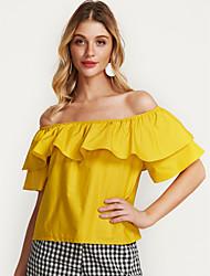 baratos -Mulheres Blusa - Feriado Básico Frufru, Sólido Algodão Ombro a Ombro / Decote Canoa / Verão