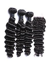 Недорогие -3 комплекта с закрытием Перуанские волосы Крупные кудри Натуральные волосы Волосы Уток с закрытием 14 дюймовый Ткет человеческих волос Нейтральный Расширения человеческих волос Жен.