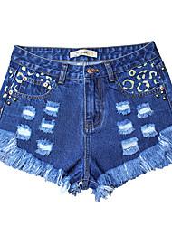 cheap -Women's Slim Jeans / Shorts Pants - Leopard Low Waist