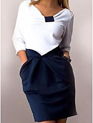 cheap -Women's Work Basic Sheath Dress V Neck