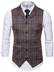 cheap -Men's Plus Size Vest-Plaid Peaked Lapel / Sleeveless