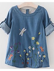 Недорогие -Дети Девочки Классический Повседневные Однотонный Вышивка С короткими рукавами Выше колена Платье Синий