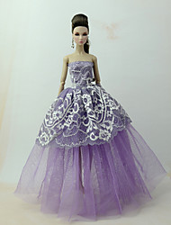 baratos -Vestidos Vestir Para Boneca Barbie Roxo Tule / Renda / Mistura de Seda / Algodão Vestido Para Menina de Boneca de Brinquedo