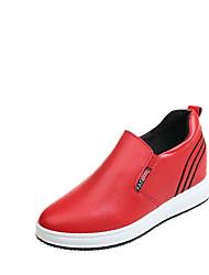 billige -Dame Sko PU Sommer Komfort Sneakers Flade hæle Rund Tå Hvid / Sort / Rød