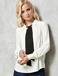 cheap -Women's T-shirt - Solid Colored Shirt Collar / Lace up