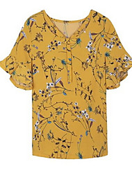 cheap -Women's Blouse - Geometric Lace up / Patchwork / Print