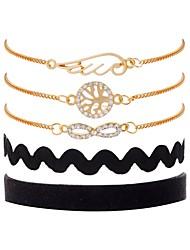 cheap -Women's Cubic Zirconia Layered Chain Bracelet / Vintage Bracelet - Wings, Tree of Life Classic, Vintage, Fashion Bracelet Gold For Gift / Birthday / 5pcs