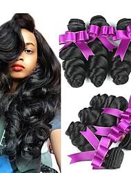 billige -Brasiliansk hår Bølget Menneskehår, Bølget / Hårforlængelse af menneskehår 6 Bundler 8-28 inch Menneskehår Vævninger Maskinproduceret Ny ankomst / Til sorte kvinder / 100% Jomfru Sort Menneskehår