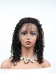 abordables -Cabello Remy Encaje Completo Peluca Cabello Brasileño Afro Kinky Peluca Corte asimétrico 180% Mujer / sexy lady / Mejor calidad Negro Mujer 8-14 Pelucas de Cabello Natural