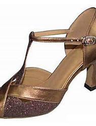 cheap -Women's Latin Shoes Synthetics Heel Slim High Heel Dance Shoes Gold / Silver / Performance / Leather / Practice