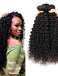 cheap -4 Bundles Peruvian Hair Kinky Curly Human Hair Natural Color Hair Weaves / Hair Bulk / One Pack Solution / Human Hair Extensions 8-28 inch Natural Color Human Hair Weaves Soft / Sexy Lady / Hot Sale