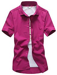 Недорогие -Муж. Офис Рубашка Воротник с уголками на пуговицах (button-down) Однотонный / С короткими рукавами