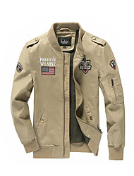 cheap -Men's Military Jacket - Solid Colored / Color Block / Letter, Patchwork