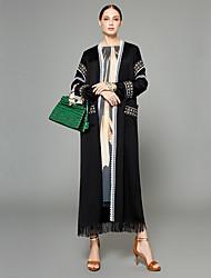 baratos -Mulheres Abaya Boho / Sofisticado - Sólido / Criativo / Bordados Elegantes Franjas / Oversized / Jacquard