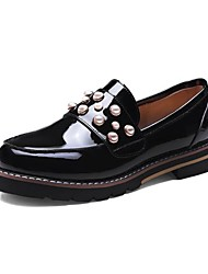 cheap -Women's Shoes Nappa Leather Spring / Fall Comfort Loafers & Slip-Ons Flat Heel Round Toe Imitation Pearl Black / Almond