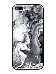 Недорогие -Кейс для Назначение Apple iPhone X / iPhone 8 Plus Зеркальная поверхность / С узором Кейс на заднюю панель Мрамор Твердый ТПУ / Закаленное стекло для iPhone X / iPhone 8 Pluss / iPhone 8