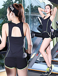 cheap -Women's Open Back Tracksuit - Green, Black / White, Green and Black Sports Fashion Shorts / Tank Top Running, Fitness, Gym Activewear Quick Dry, Breathable, Sweat-wicking High Elasticity