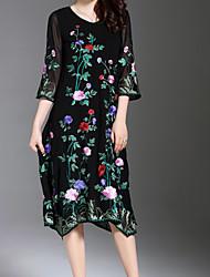 povoljno -Žene Osnovni Swing kroj Haljina Jednobojni / Cvjetni print Midi