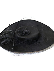 billige -Tyl / Fjer / Hør / Bomulds Blanding Hatte / Hovedtøj med Fjer / Kasket 1pc Bryllup / Speciel Lejlighed Medaljon