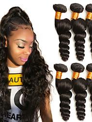 baratos -6 pacotes Cabelo Brasileiro Ondulação Larga Cabelo Humano Um Pacote de Solução / Extensões de Cabelo Natural 8-28 polegada Côr Natural Tramas de cabelo humano extensão / Melhor qualidade Extensões de