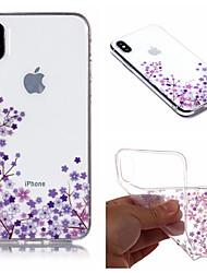 Недорогие -Кейс для Назначение Apple iPhone X / iPhone 8 Plus IMD / С узором Кейс на заднюю панель Цветы Мягкий ТПУ для iPhone X / iPhone 8 Pluss / iPhone 8