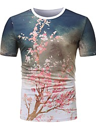 cheap -Men's Basic T-shirt - Geometric / Plaid / Camouflage