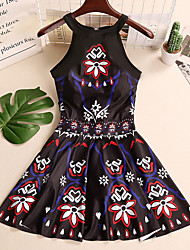 cheap -Women's Halter Neck One-piece - Solid Colored / Floral / Geometric Lace up Skirt