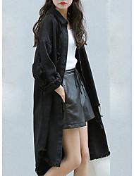 Недорогие -Жен. Повседневные Уличный стиль Длинная Джинсовая куртка, Современный стиль Рубашечный воротник Длинный рукав Полиэстер Белый / Черный S / M / L