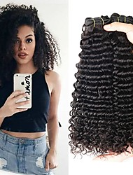 cheap -4 Bundles Indian Hair Curly Human Hair Natural Color Hair Weaves / Extension 8-28 inch Human Hair Weaves Machine Made Best Quality / For Black Women / 100% Virgin Natural Human Hair Extensions