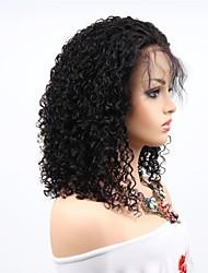 abordables -Cabello Remy Encaje Frontal Peluca Cabello Brasileño Afro Kinky Peluca Corte asimétrico 130% / 150% / 180% Mujer / sexy lady / Natural Negro Mujer 8-14 Pelucas de Cabello Natural