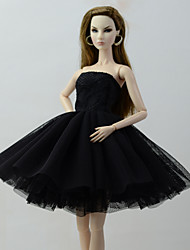 cheap -Dresses Dress For Barbie Doll Black Tulle / Lace / Silk / Cotton Blend Dress For Girl's Doll Toy