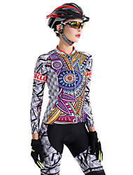 cheap -Malciklo Women's Long Sleeve Cycling Jersey with Tights - Purple British Bike Tights, 3D Pad, Quick Dry, Breathable Coolmax®, Lycra / High Elasticity