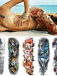 Недорогие -5 pcs Временные татуировки Тату с тотемом / Тату с цветами Гладкий стикер / Одноразового использования / Безопасность Искусство тела рука / ножка / Временные татуировки в стиле деколь