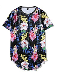 cheap -Men's Exaggerated T-shirt - Floral Print